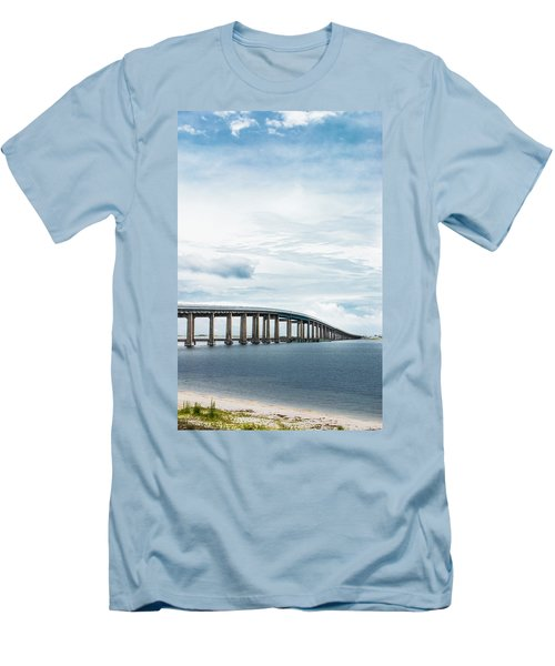 Men's T-Shirt (Slim Fit) featuring the photograph Navarre Bridge In Florida On The Sound Side by Shelby Young