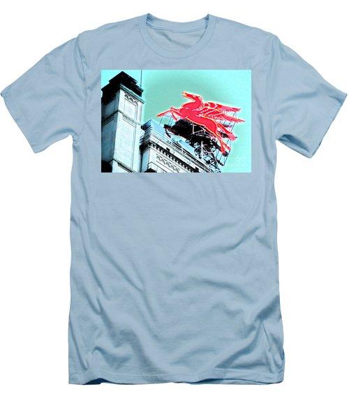 Neon Pegasus Atop Magnolia Building In Dallas Texas Men's T-Shirt (Athletic Fit)