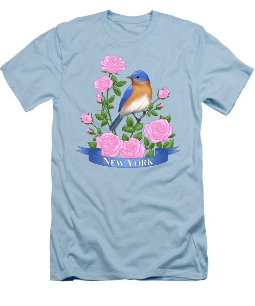 New York Bluebird And Pink Roses Men's T-Shirt (Athletic Fit)