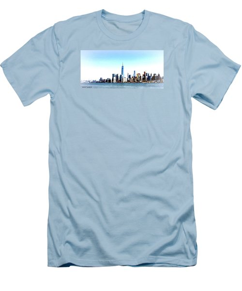 Men's T-Shirt (Slim Fit) featuring the painting New York City Skyline by Denise Tomasura