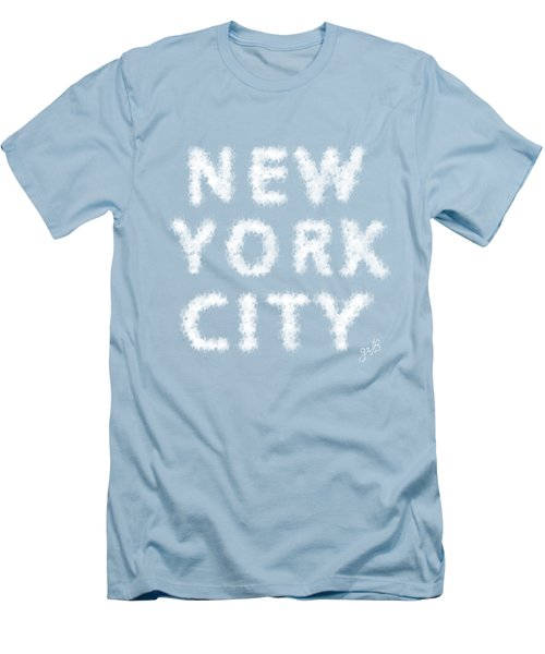 Men's T-Shirt (Slim Fit) featuring the painting New York City Skywriting Typography by Georgeta Blanaru