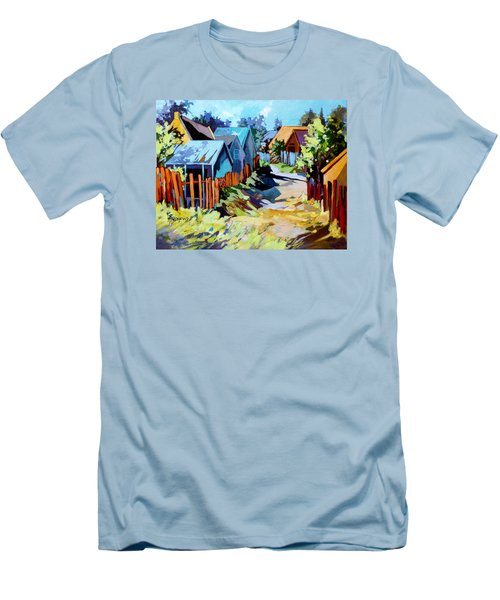 Men's T-Shirt (Slim Fit) featuring the painting No Through Road by Rae Andrews