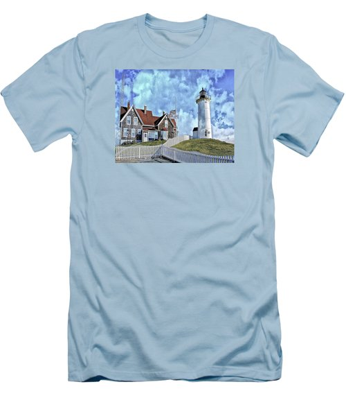 Nobska Point Lighthouse Falmouth Cape Cod Men's T-Shirt (Slim Fit) by Constantine Gregory