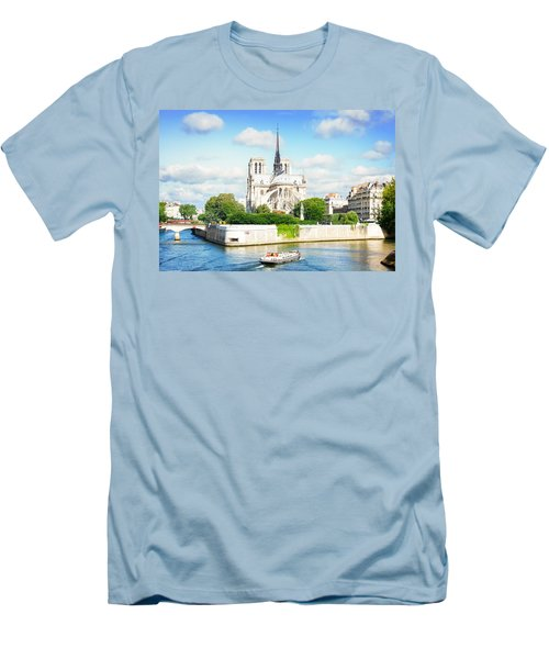 Notre Dame Cathedral, Paris France Men's T-Shirt (Slim Fit) by Anastasy Yarmolovich