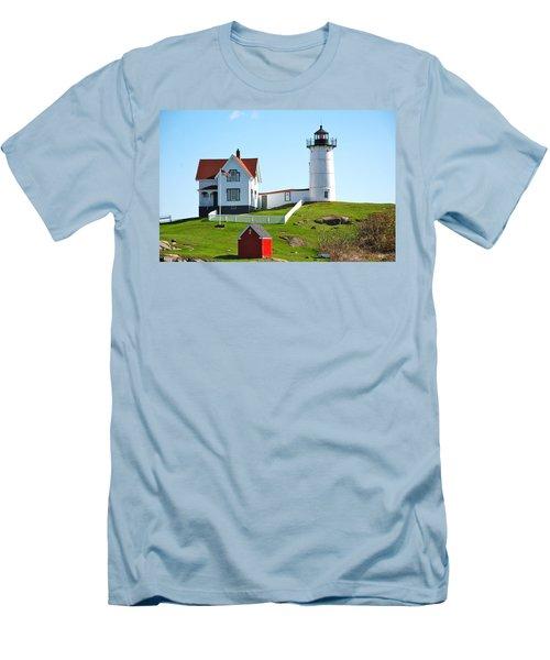 Nubble Lighthouse Men's T-Shirt (Slim Fit) by Eric Tressler