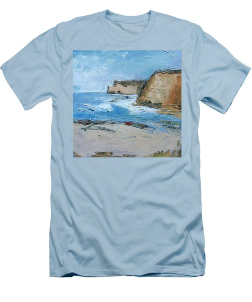 Men's T-Shirt (Slim Fit) featuring the painting Ocean Cliffs by Gary Coleman