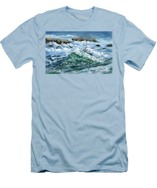 Ocean Waves And Pelicans Men's T-Shirt (Slim Fit) by Judy Filarecki