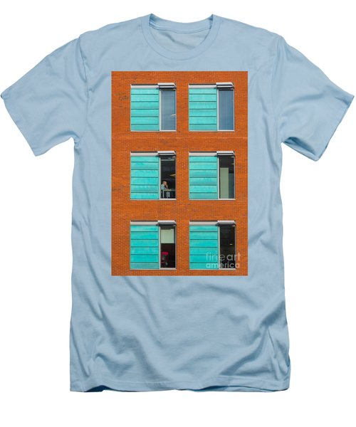 Office Windows Men's T-Shirt (Slim Fit) by Colin Rayner