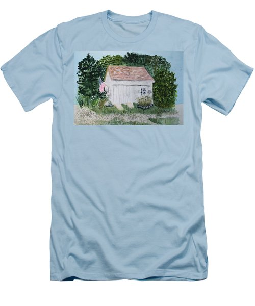 Men's T-Shirt (Slim Fit) featuring the painting Old Barn In Eastham Ma by Donna Walsh