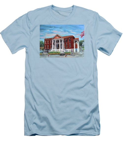 Men's T-Shirt (Athletic Fit) featuring the painting Old Courthouse In Ellijay Ga - Gilmer County Courthouse by Jan Dappen