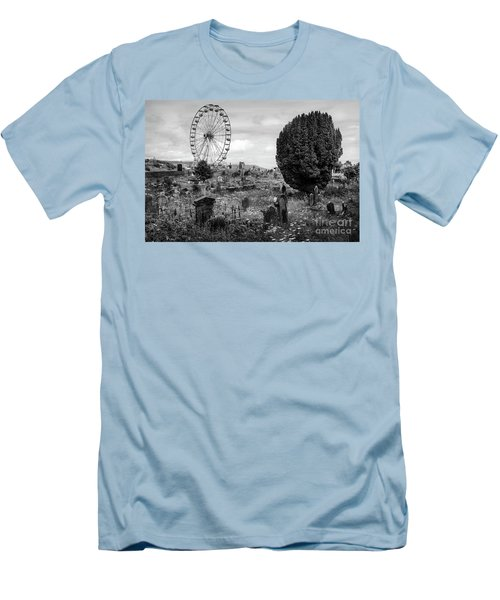 Old Glenarm Cemetery And Big Wheel Bw Men's T-Shirt (Slim Fit) by RicardMN Photography