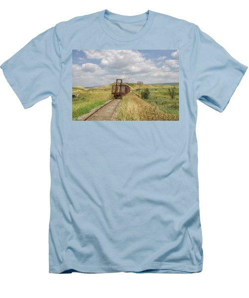 Jezre'el Valley Old Railway Station Men's T-Shirt (Slim Fit) by Uri Baruch