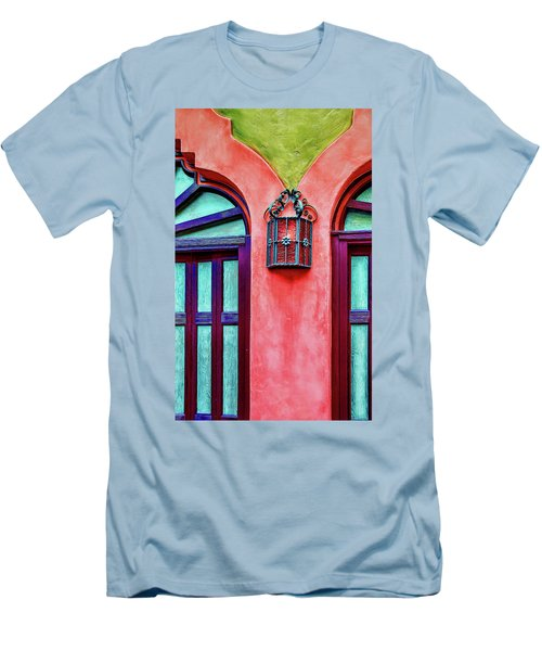 Men's T-Shirt (Athletic Fit) featuring the photograph Old Lamp Between Windows by Gary Slawsky