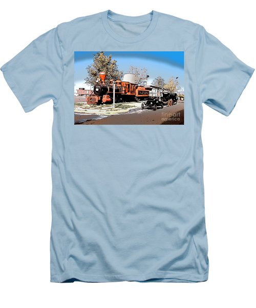 Old Pioneer Train Western Village Las Vegas Men's T-Shirt (Slim Fit) by Wernher Krutein