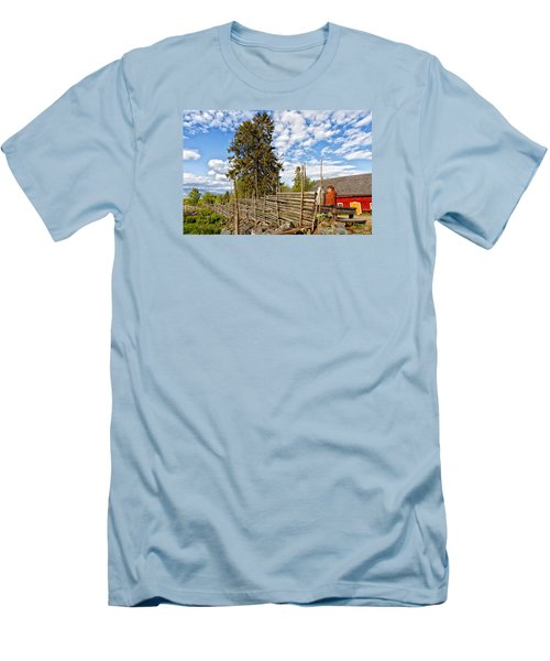 Old Rural Farm Set In A Beautiful Summer Nature Men's T-Shirt (Slim Fit) by Christian Lagereek