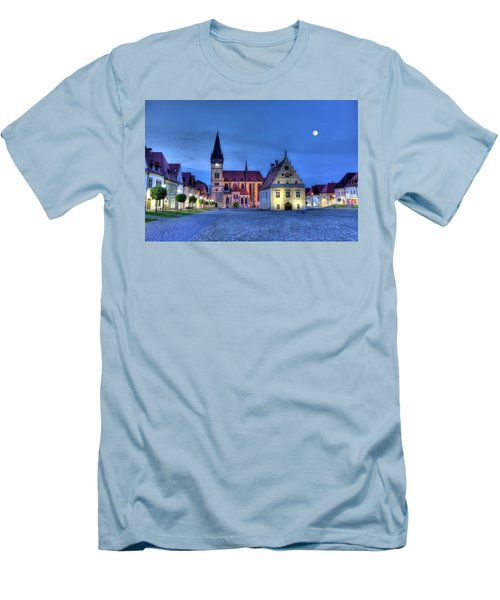 Old Town Square In Bardejov, Slovakia,hdr Men's T-Shirt (Slim Fit) by Elenarts - Elena Duvernay photo