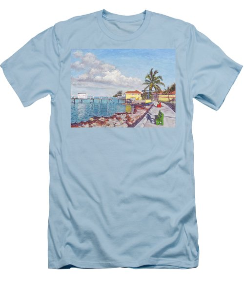 Old Yellow Gas Station By The Waterfront - Cooper's Town Men's T-Shirt (Athletic Fit)