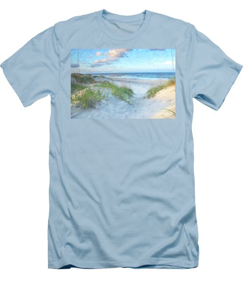 On The Beach Watercolor Men's T-Shirt (Slim Fit) by Randy Steele