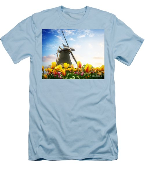 One Dutch Windmill Over  Tulips Men's T-Shirt (Athletic Fit)