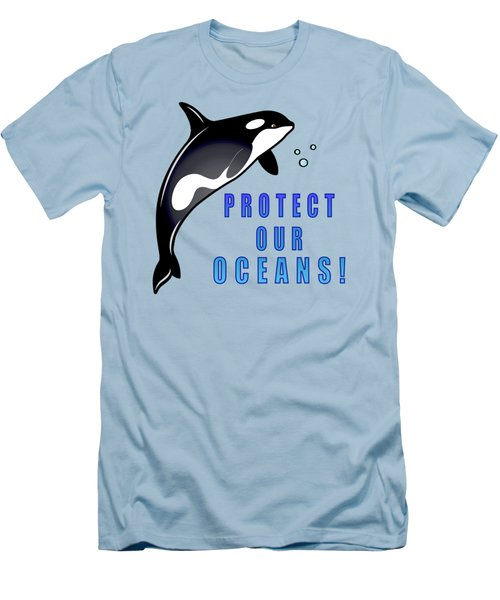 Orca Whale Protect Our Oceans Men's T-Shirt (Slim Fit) by A