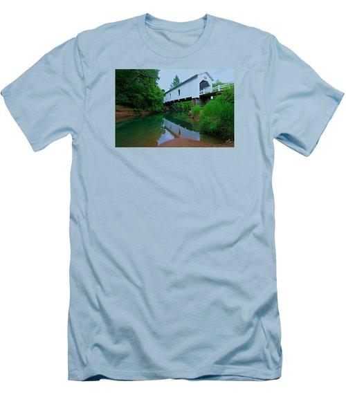 Oregon Covered Bridge Men's T-Shirt (Slim Fit) by Sean Sarsfield