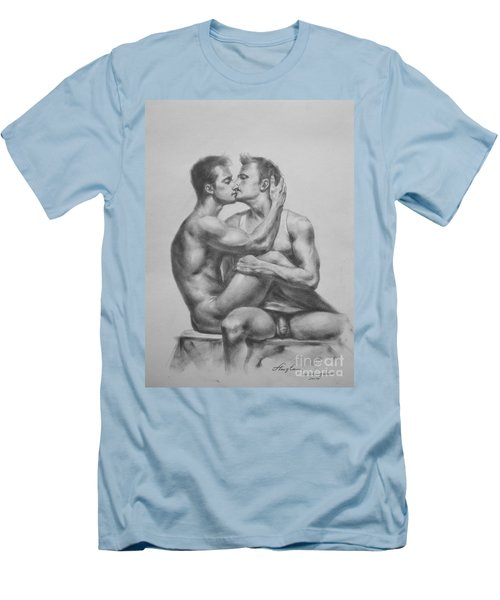 Original Drawing Sketch Charcoal Male Nude Gay Interest Man Art Pencil On Paper -0036 Men's T-Shirt (Athletic Fit)