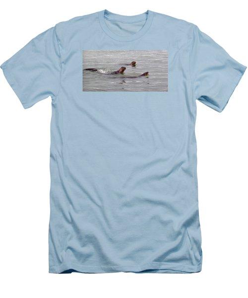 Otters Swimming Men's T-Shirt (Slim Fit) by Karen Molenaar Terrell