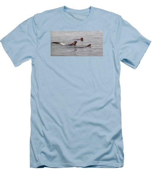 Otters Swimming Men's T-Shirt (Athletic Fit)