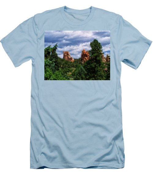 Men's T-Shirt (Slim Fit) featuring the digital art outcroppings in Colorado Springs by Chris Flees