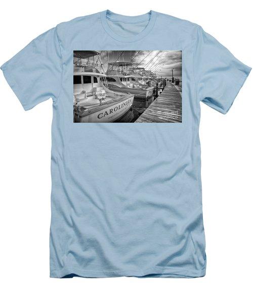 Outer Banks Fishing Boats Waiting Bw Men's T-Shirt (Slim Fit) by Dan Carmichael