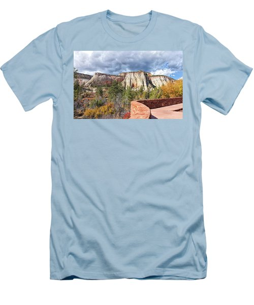 Men's T-Shirt (Slim Fit) featuring the photograph Overlook In Zion National Park Upper Plateau by John M Bailey