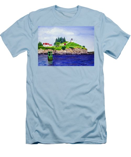 Owls Head Lighthouse Men's T-Shirt (Slim Fit) by Mike Robles