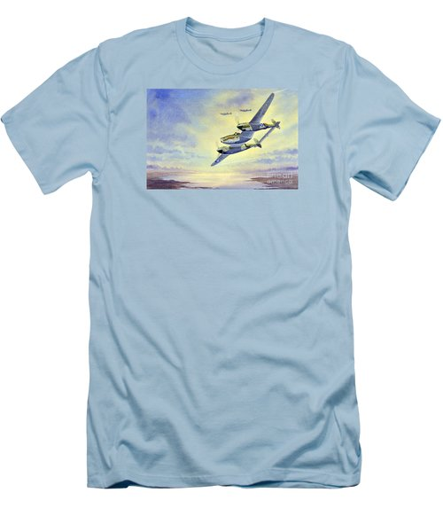 Men's T-Shirt (Slim Fit) featuring the painting P-38 Lightning Aircraft by Bill Holkham