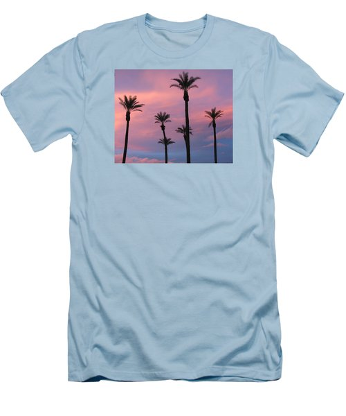 Men's T-Shirt (Slim Fit) featuring the photograph Palms At Sunset by Phyllis Kaltenbach