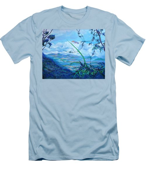 Men's T-Shirt (Slim Fit) featuring the painting Panama. Anton Valley by Anna  Duyunova