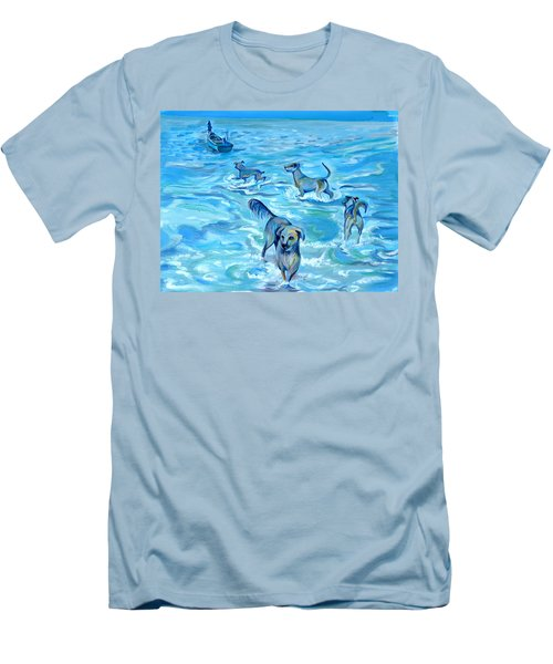 Men's T-Shirt (Slim Fit) featuring the painting Panama. Salted Dogs by Anna  Duyunova