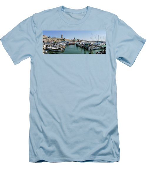 Men's T-Shirt (Slim Fit) featuring the photograph Panorama In Acre Harbor by Arik Baltinester