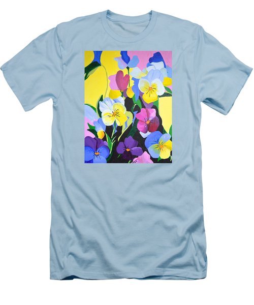 Men's T-Shirt (Slim Fit) featuring the painting Pansies by Donna Blossom