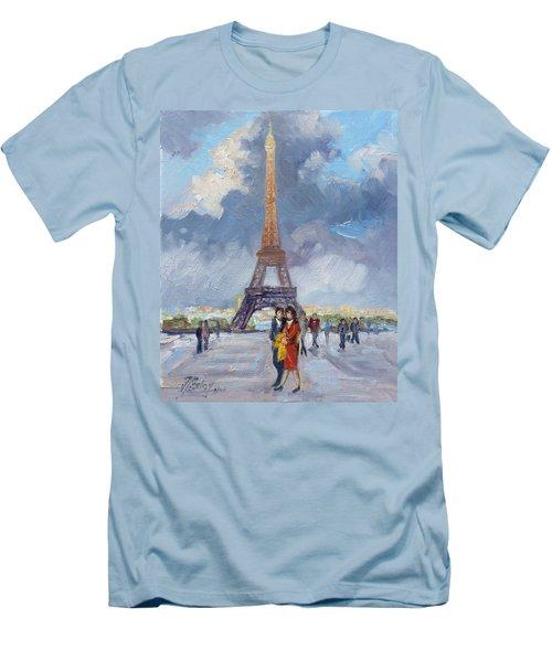 Paris Eiffel Tower Men's T-Shirt (Slim Fit) by Irek Szelag