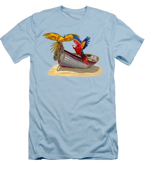 Parrots Of The Caribbean Men's T-Shirt (Slim Fit) by Glenn Holbrook