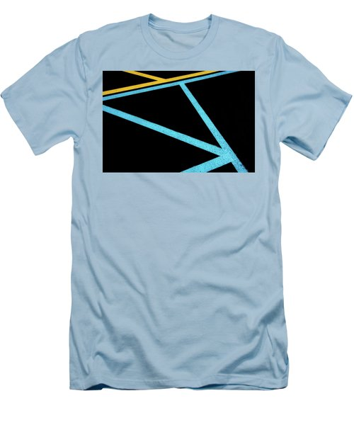 Men's T-Shirt (Athletic Fit) featuring the photograph Partallels And Triangles In Traffic Lines Scene by Gary Slawsky