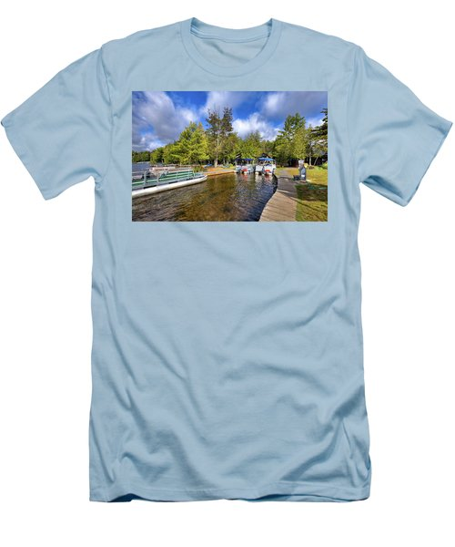 Men's T-Shirt (Athletic Fit) featuring the photograph Party Barges At Palmer Point by David Patterson