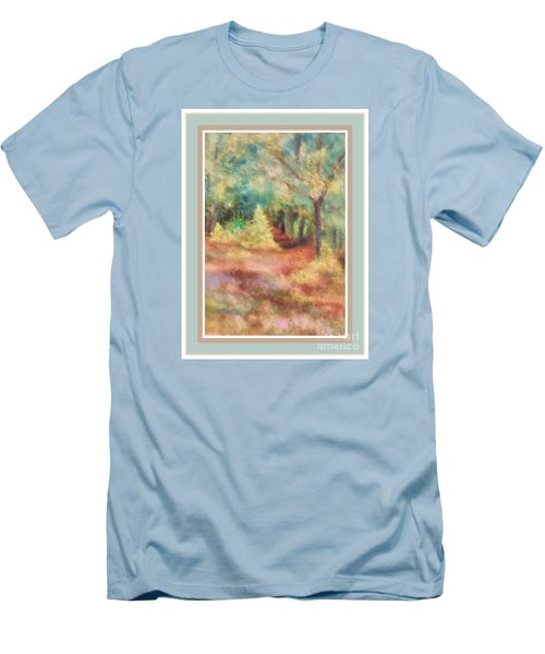 Men's T-Shirt (Slim Fit) featuring the photograph Path Shortcut Green Border by Shirley Moravec