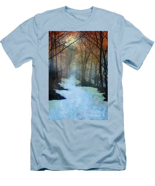 Path Through The Woods In Winter At Sunset Men's T-Shirt (Athletic Fit)
