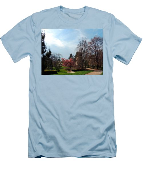 Men's T-Shirt (Slim Fit) featuring the photograph Pathway To Spring by Teresa Schomig