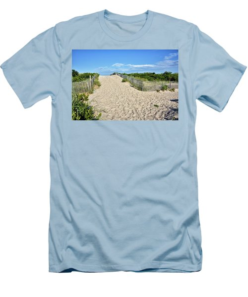 Men's T-Shirt (Slim Fit) featuring the photograph Pathway To The Beach - Delaware by Brendan Reals