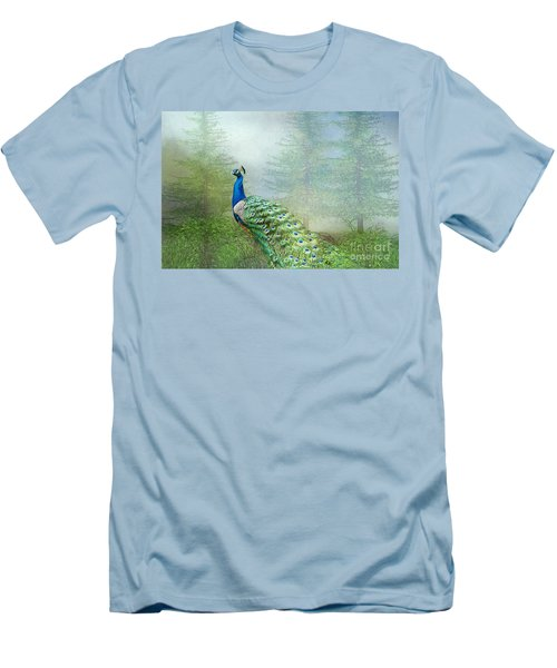 Men's T-Shirt (Slim Fit) featuring the photograph Peacock In The Forest by Bonnie Barry
