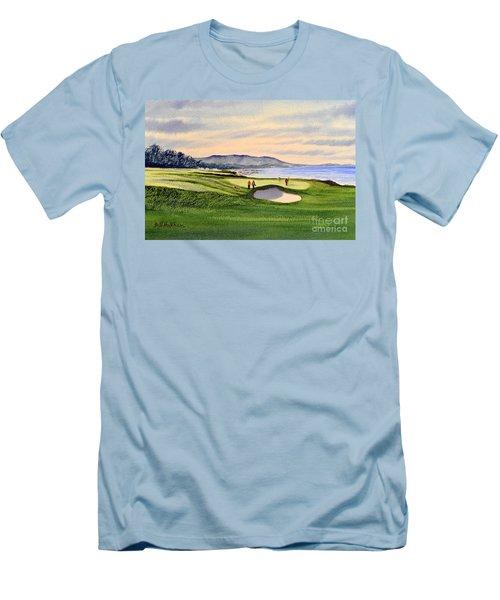Pebble Beach Golf Course Men's T-Shirt (Slim Fit) by Bill Holkham