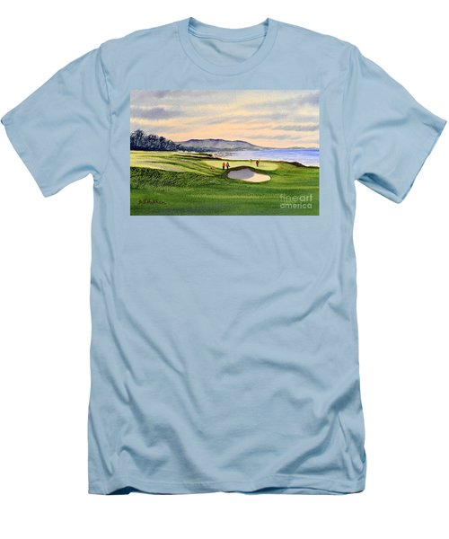 Men's T-Shirt (Athletic Fit) featuring the painting Pebble Beach Golf Course by Bill Holkham