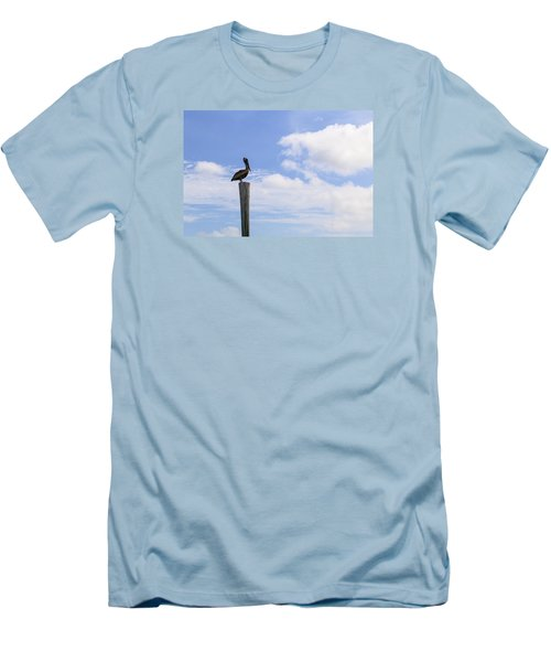 Pelican In The Clouds Men's T-Shirt (Slim Fit) by Christopher L Thomley